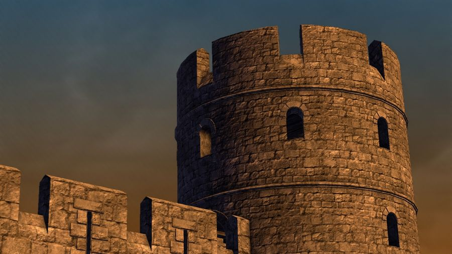 Modular Round Castle Towers Creation Set royalty-free 3d model - Preview no. 36