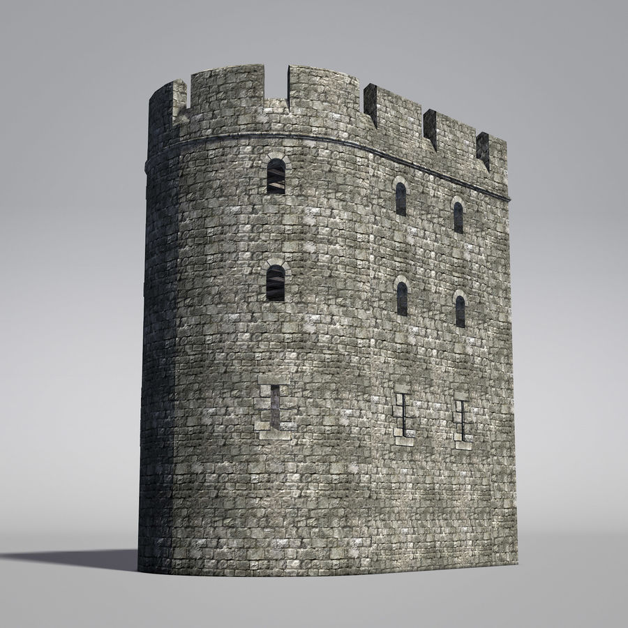 Modular Round Castle Towers Creation Set royalty-free 3d model - Preview no. 20