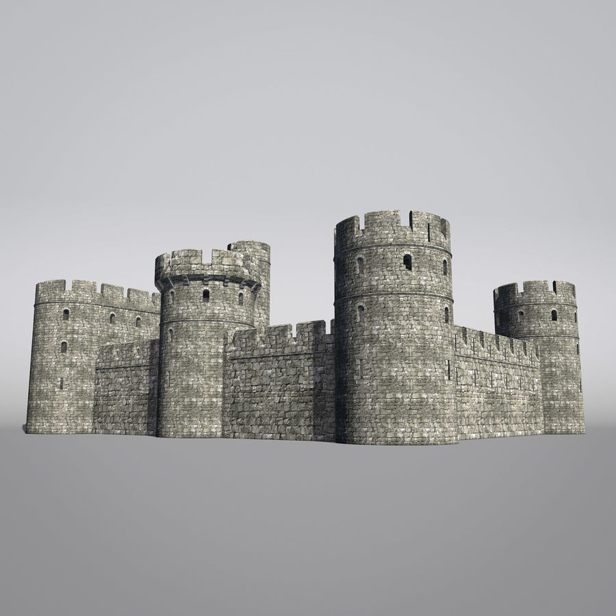 Modular Round Castle Towers Creation Set royalty-free 3d model - Preview no. 19