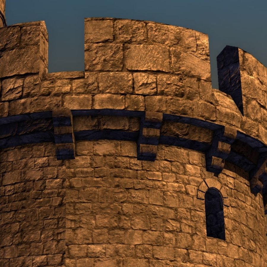 Modular Round Castle Towers Creation Set royalty-free 3d model - Preview no. 34