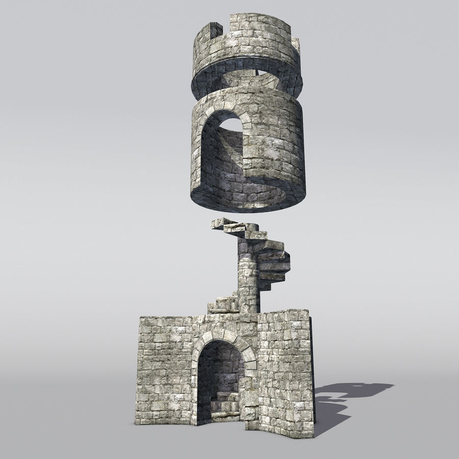 Modular Round Castle Towers Creation Set royalty-free 3d model - Preview no. 5