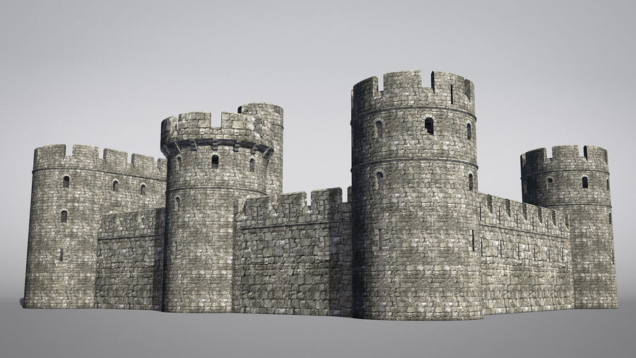 Modular Round Castle Towers Creation Set royalty-free 3d model - Preview no. 13