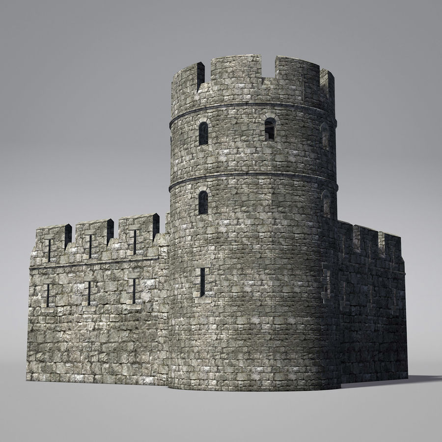 Modular Round Castle Towers Creation Set royalty-free 3d model - Preview no. 8