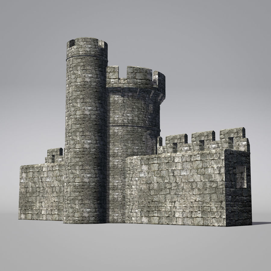Modular Round Castle Towers Creation Set royalty-free 3d model - Preview no. 14