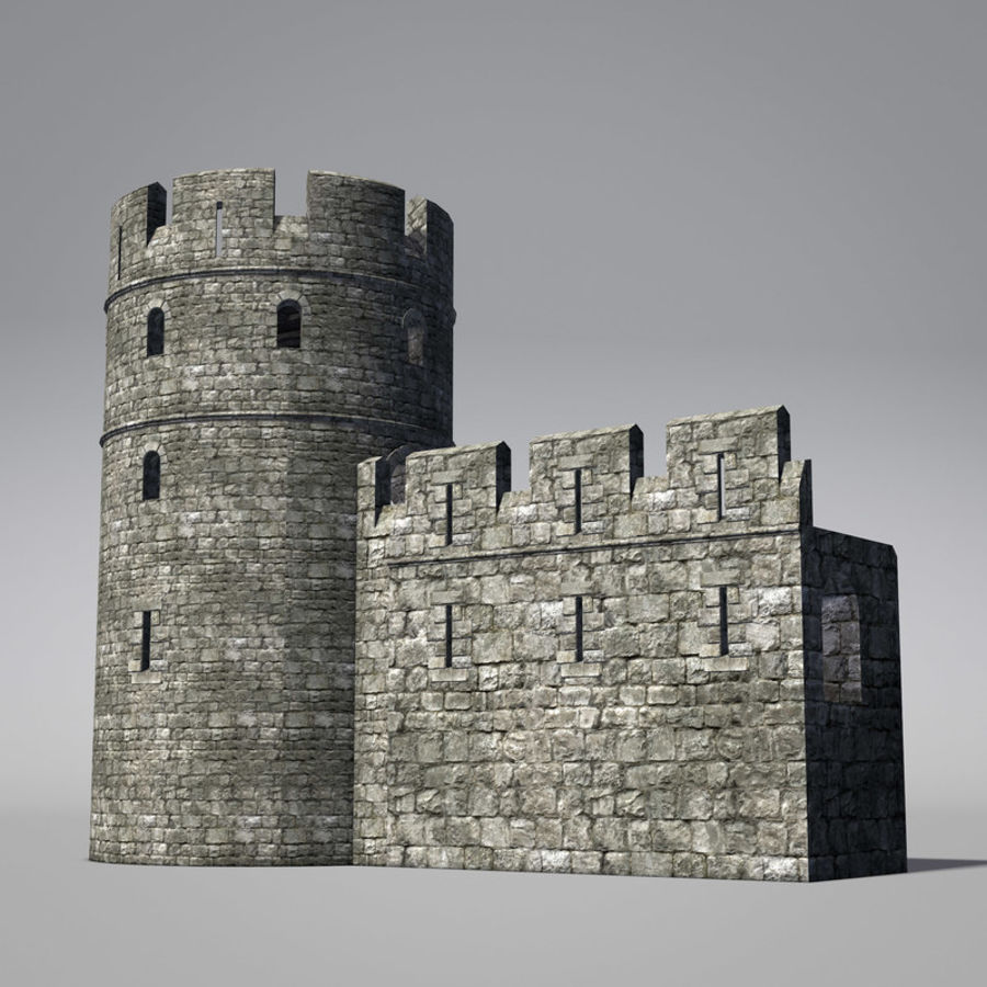 Modular Round Castle Towers Creation Set royalty-free 3d model - Preview no. 6