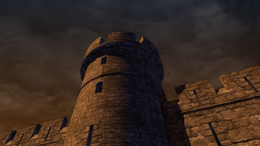 Modular Round Castle Towers Creation Set royalty-free 3d model - Preview no. 43