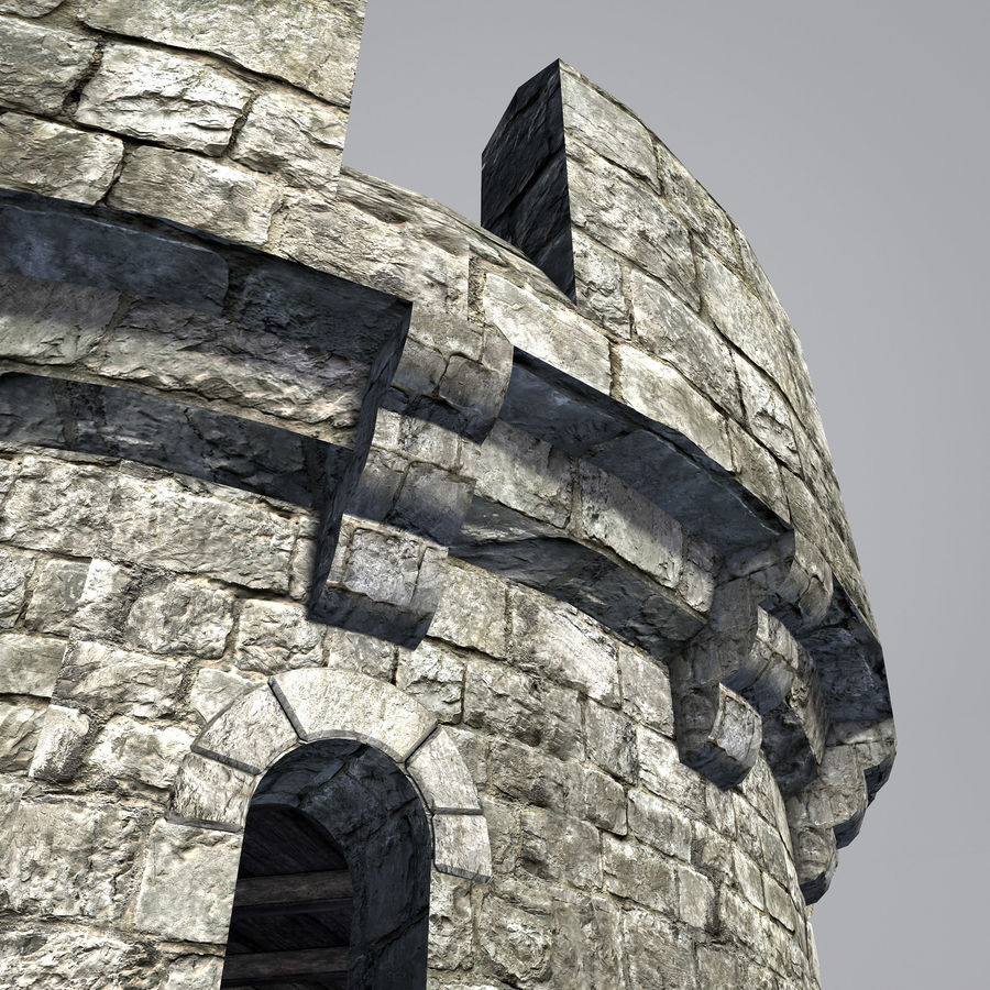 Modular Round Castle Towers Creation Set royalty-free 3d model - Preview no. 17