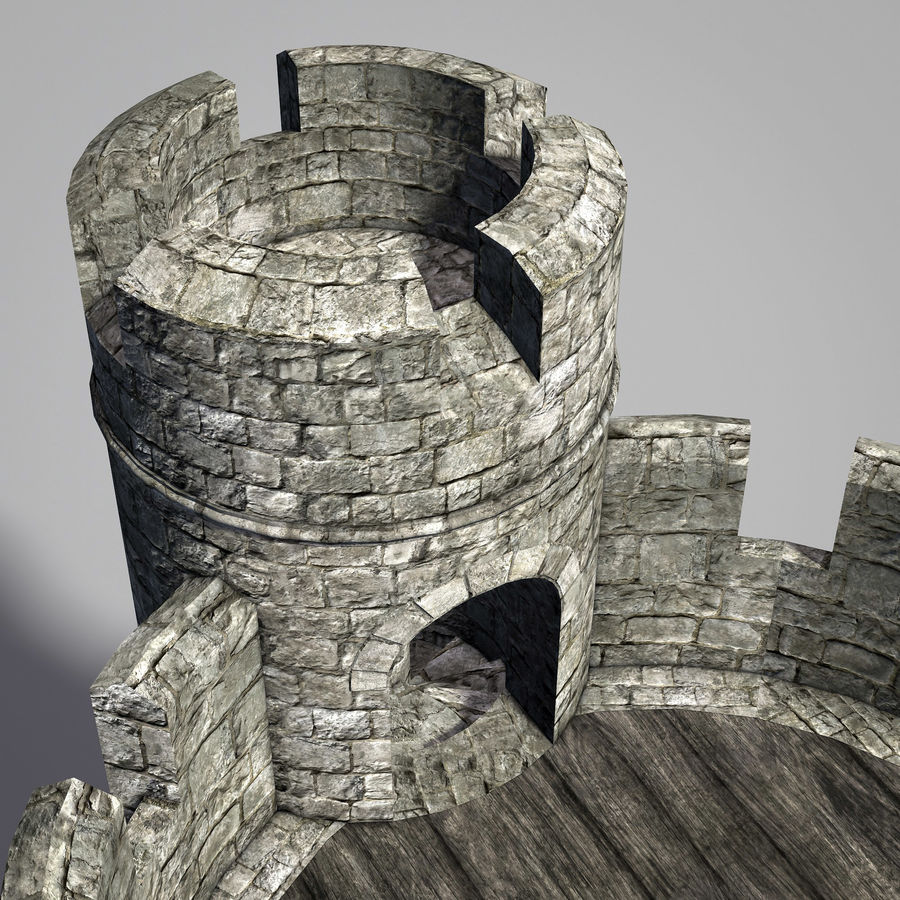 Modular Round Castle Towers Creation Set royalty-free 3d model - Preview no. 15
