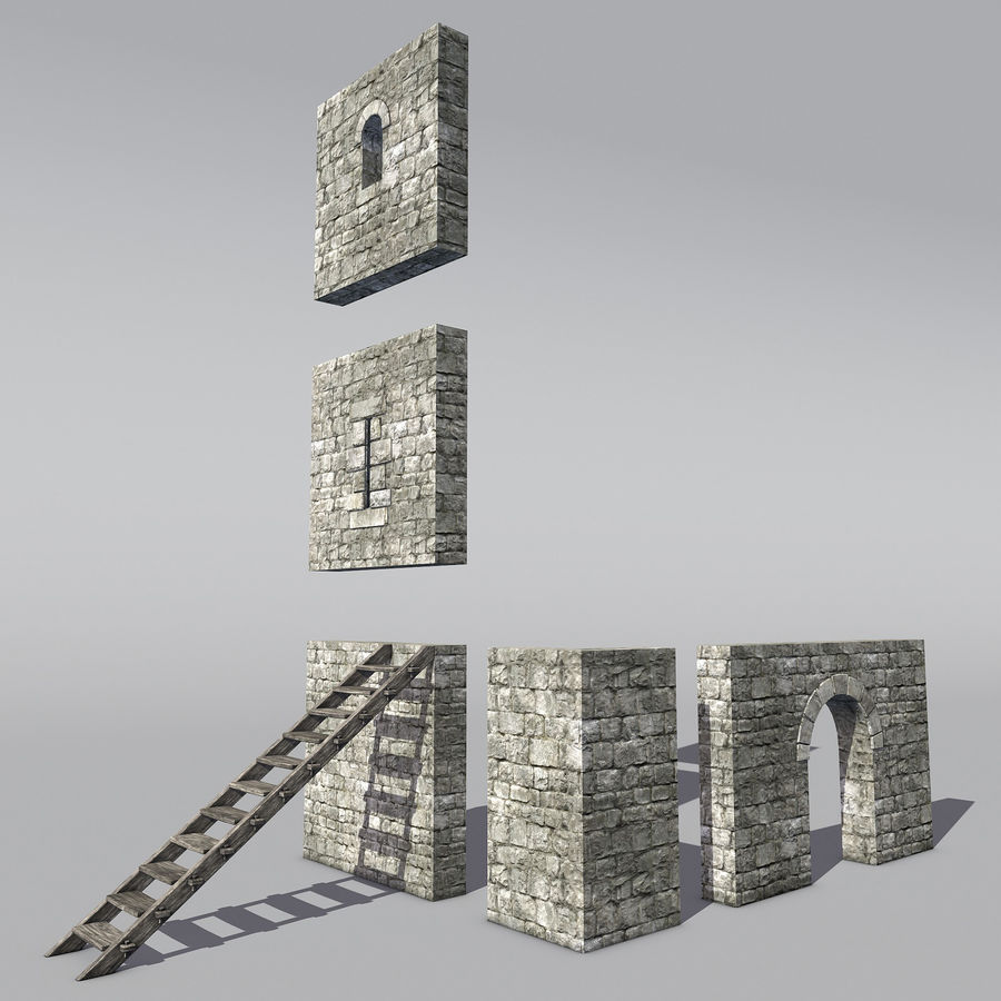 Modular Round Castle Towers Creation Set royalty-free 3d model - Preview no. 3