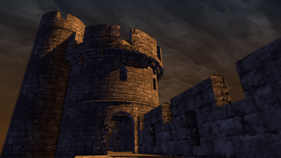 Modular Round Castle Towers Creation Set royalty-free 3d model - Preview no. 24