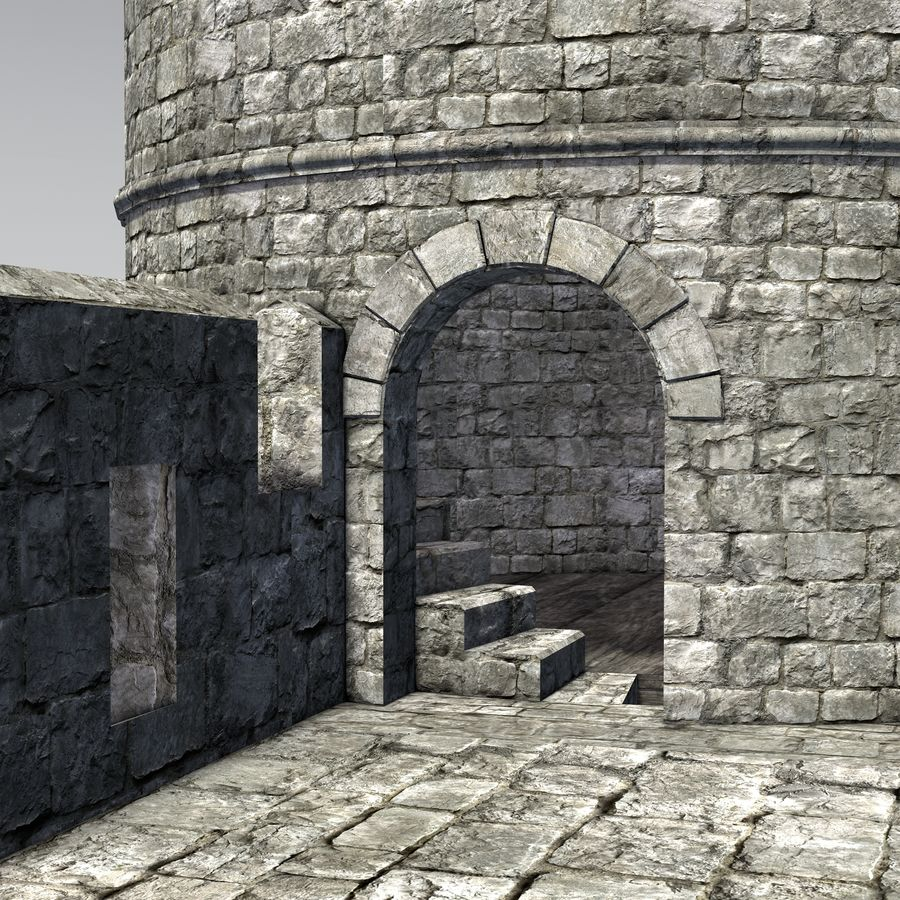 Modular Round Castle Towers Creation Set royalty-free 3d model - Preview no. 12