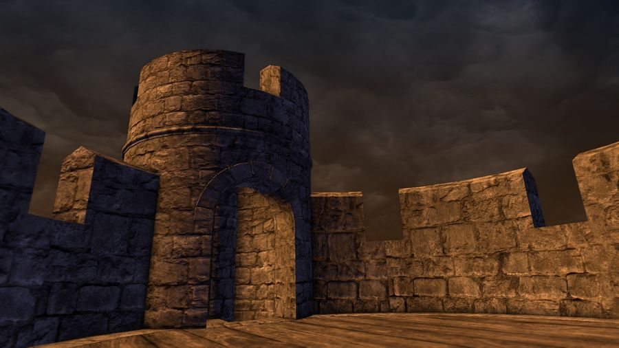 Modular Round Castle Towers Creation Set royalty-free 3d model - Preview no. 41