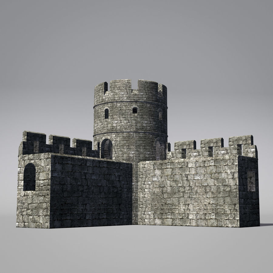 Modular Round Castle Towers Creation Set royalty-free 3d model - Preview no. 7