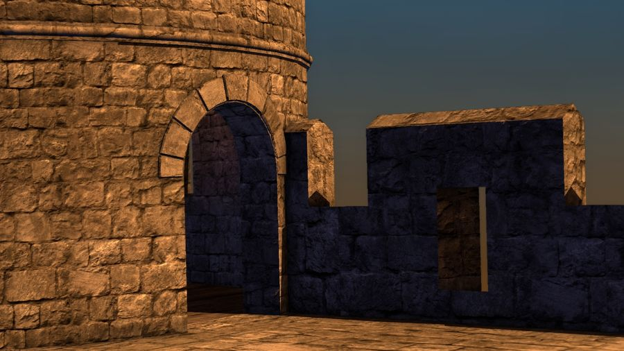 Modular Round Castle Towers Creation Set royalty-free 3d model - Preview no. 35