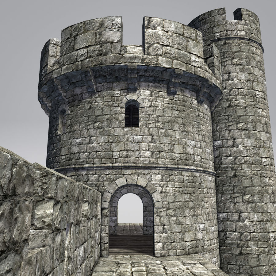 Modular Round Castle Towers Creation Set royalty-free 3d model - Preview no. 16