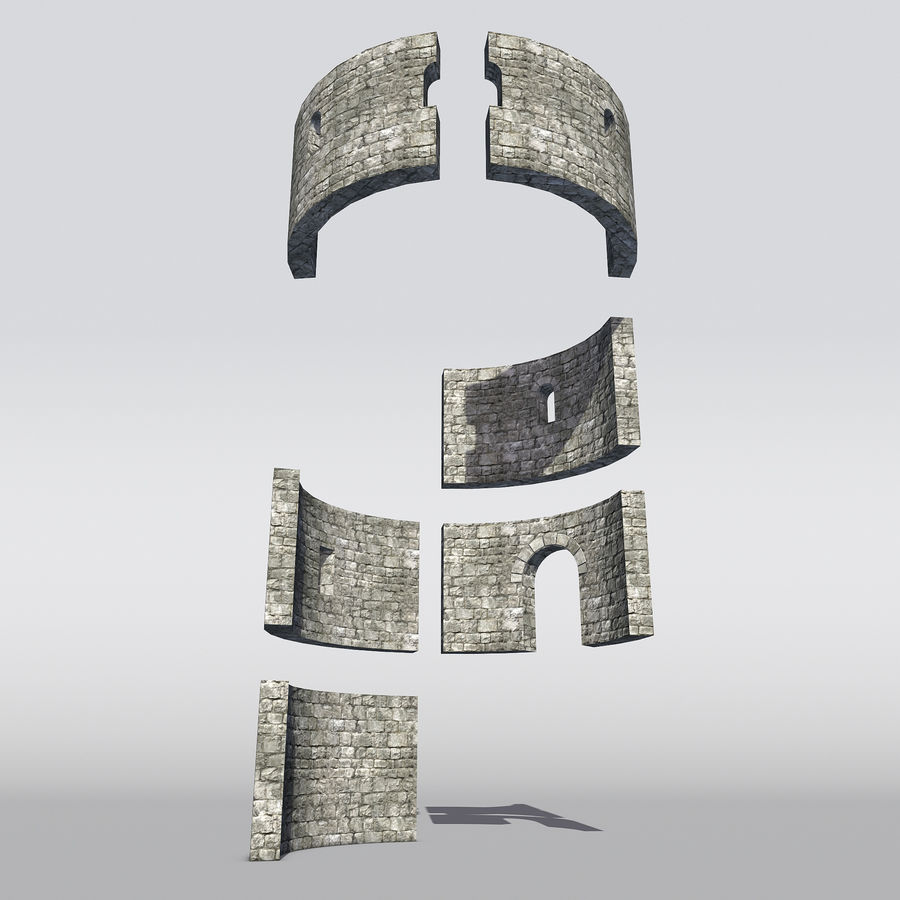 Modular Round Castle Towers Creation Set royalty-free 3d model - Preview no. 2
