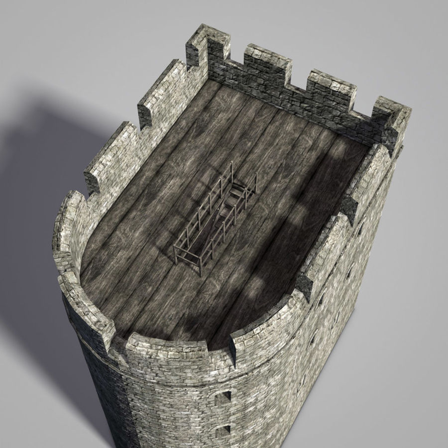 Modular Round Castle Towers Creation Set royalty-free 3d model - Preview no. 21