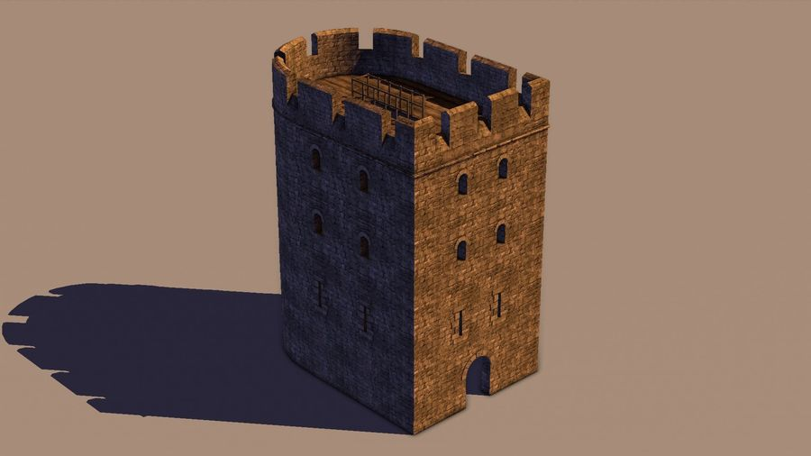 Modular Round Castle Towers Creation Set royalty-free 3d model - Preview no. 31