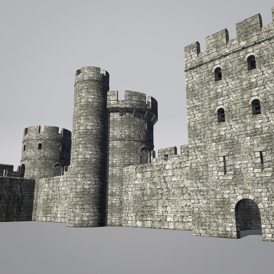 Modular Round Castle Towers Creation Set royalty-free 3d model - Preview no. 1