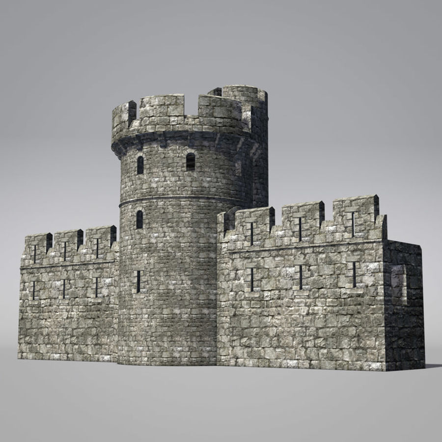 Modular Round Castle Towers Creation Set royalty-free 3d model - Preview no. 10