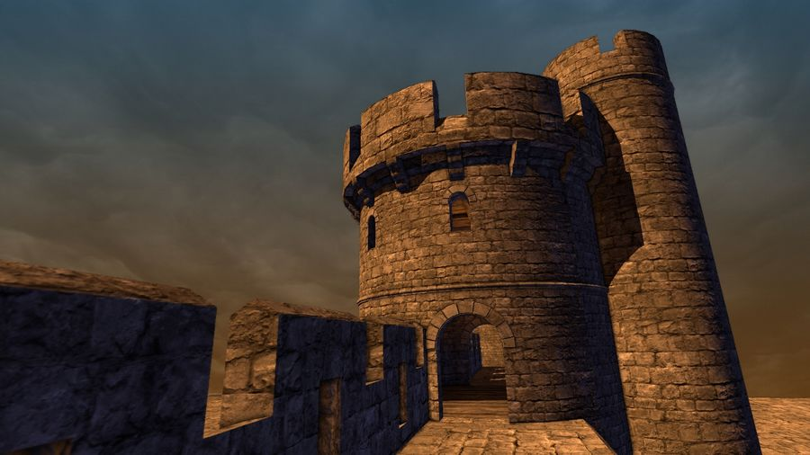 Modular Round Castle Towers Creation Set royalty-free 3d model - Preview no. 32