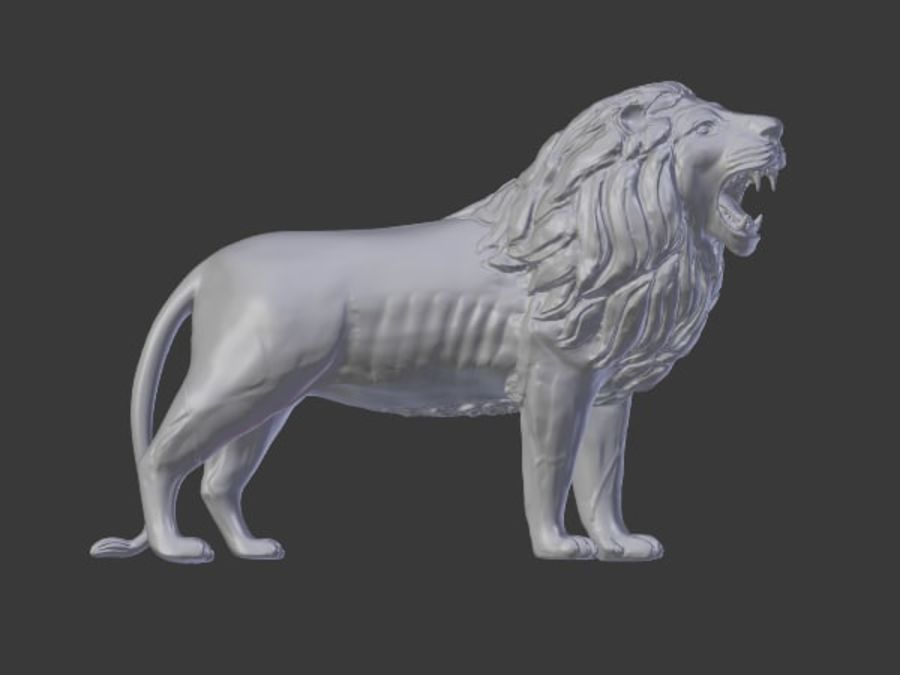Lion Statue royalty-free 3d model - Preview no. 5