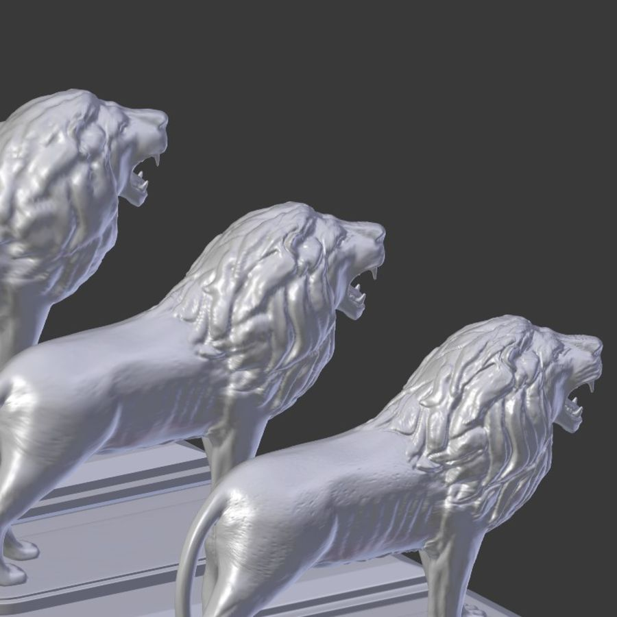 Lion Statue royalty-free 3d model - Preview no. 13