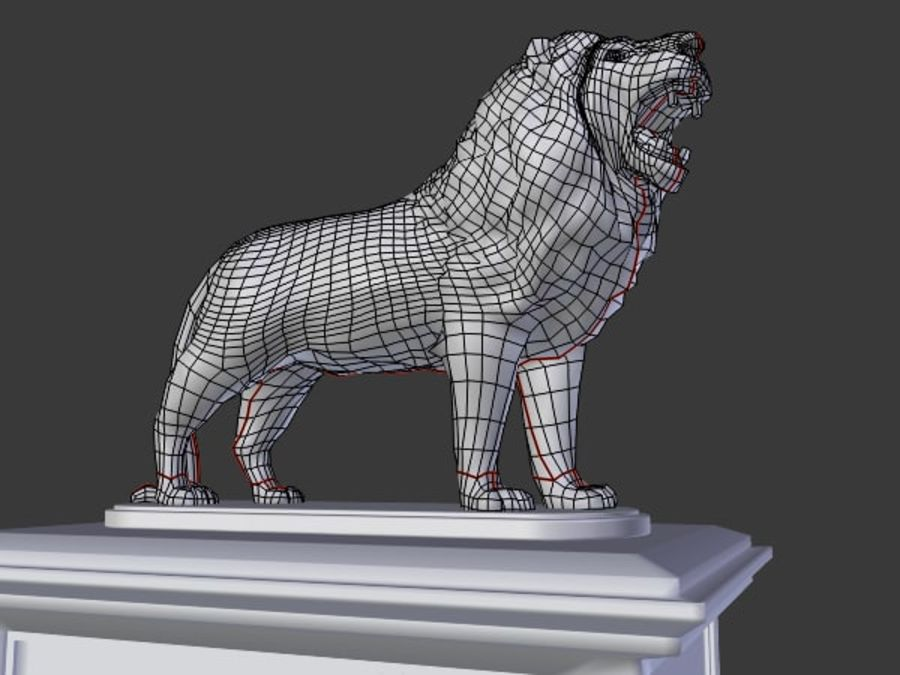 Lion Statue royalty-free 3d model - Preview no. 7