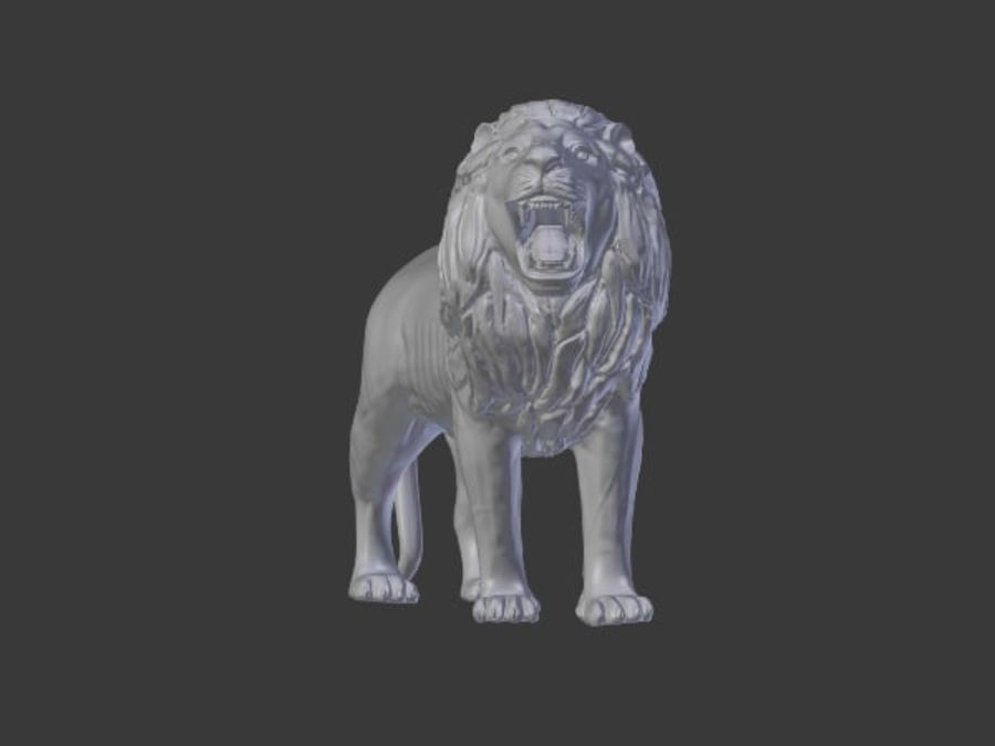 Lion Statue royalty-free 3d model - Preview no. 3