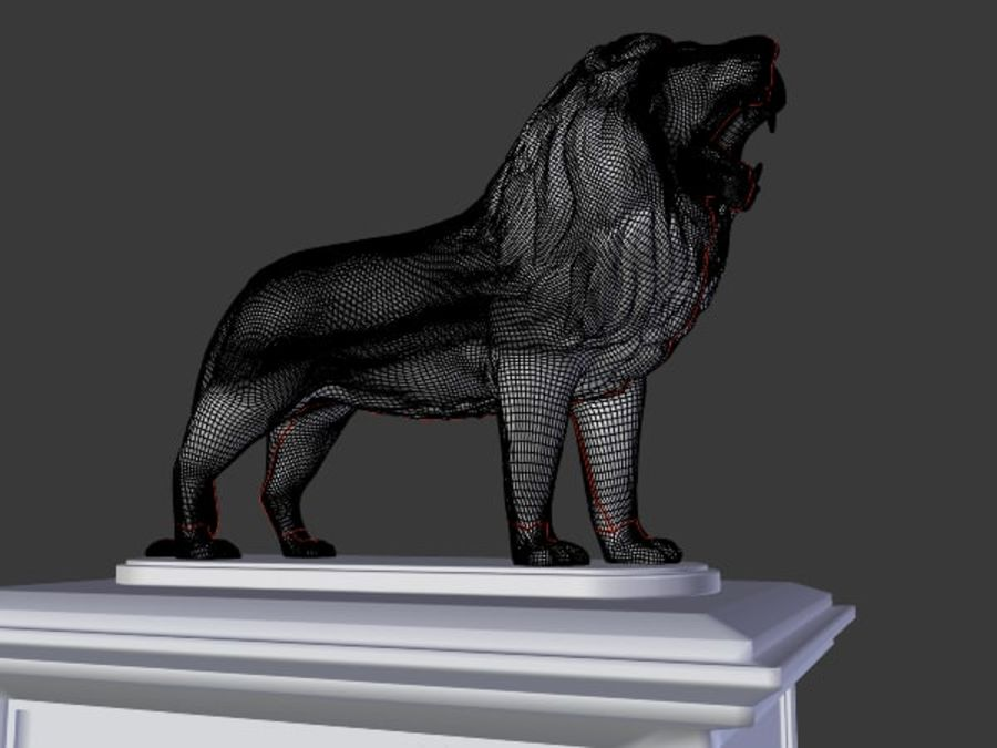Lion Statue royalty-free 3d model - Preview no. 9
