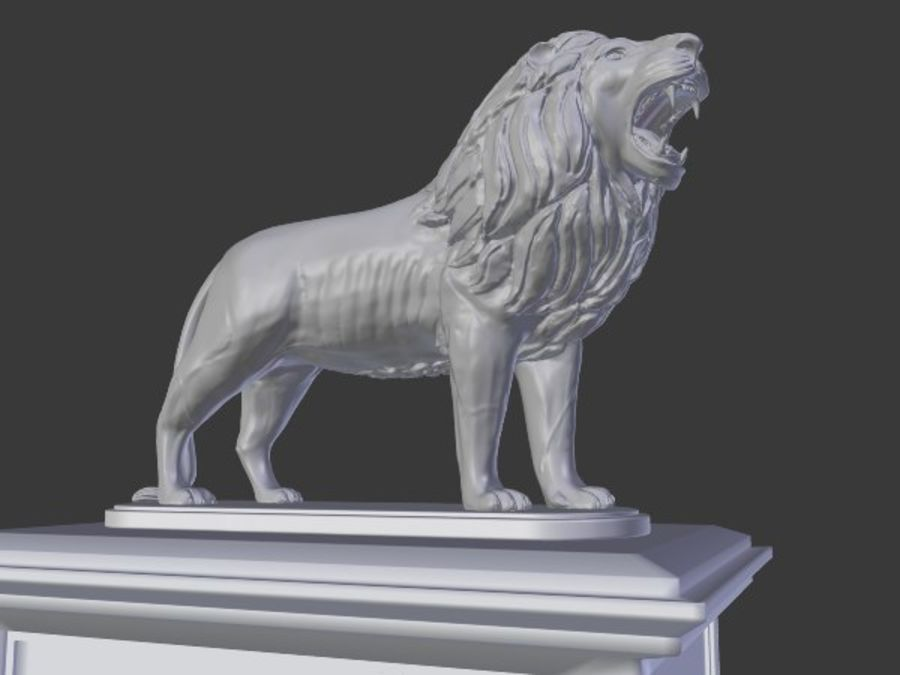 Lion Statue royalty-free 3d model - Preview no. 6
