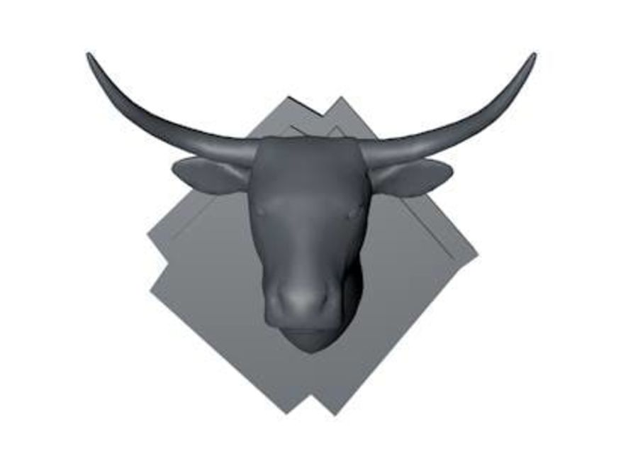 Low Poly Mounted Bull Head royalty-free 3d model - Preview no. 2