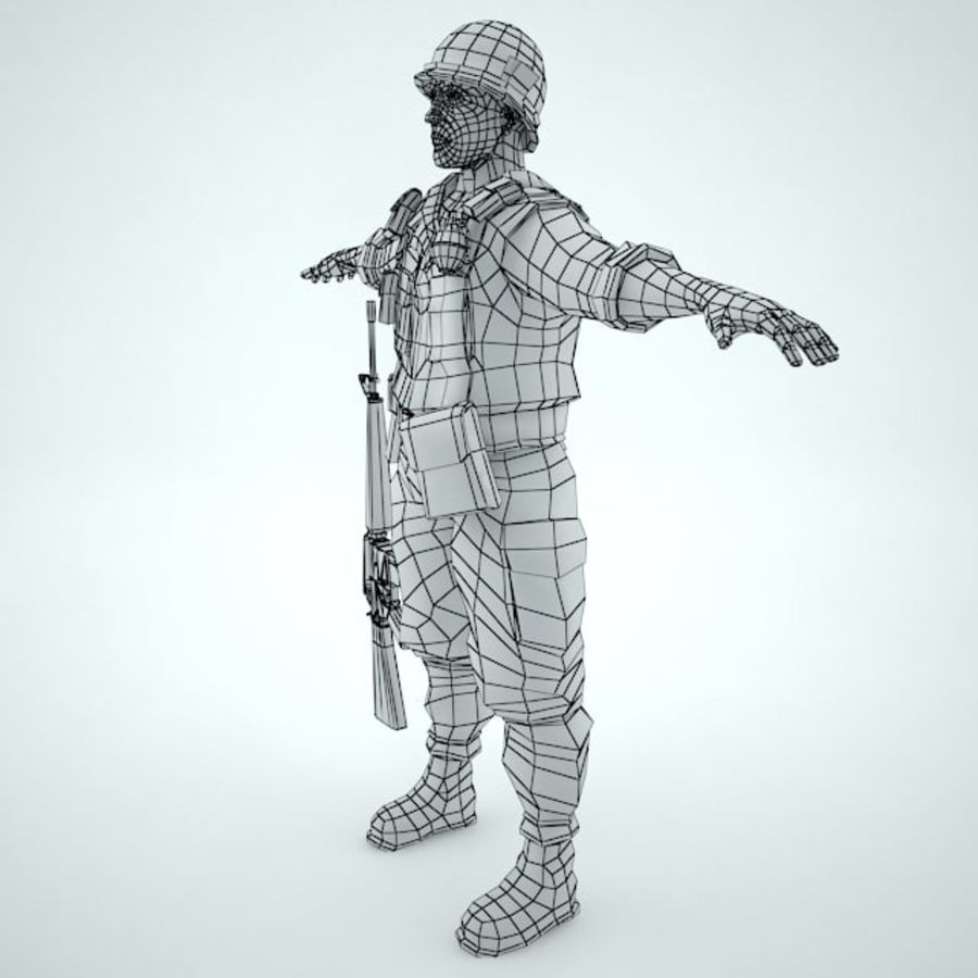 Marine soldier Vietnam royalty-free 3d model - Preview no. 3