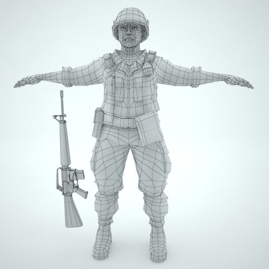 Marine soldier Vietnam royalty-free 3d model - Preview no. 9