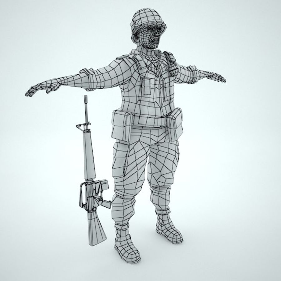 Marine soldier Vietnam royalty-free 3d model - Preview no. 11