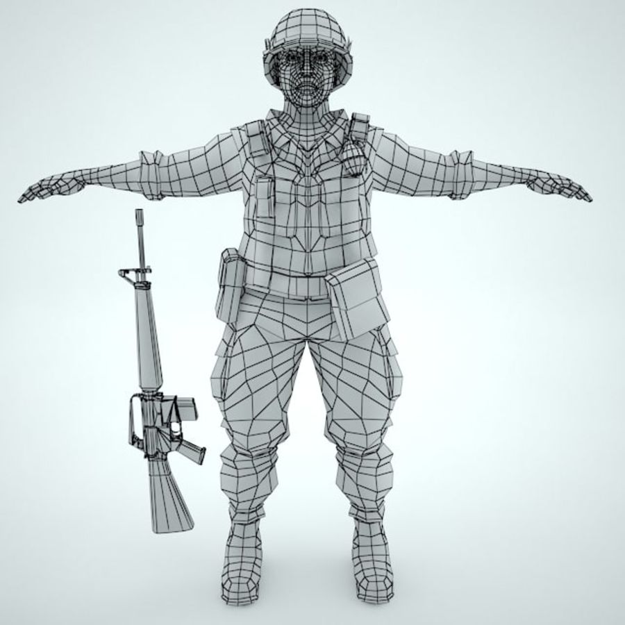 Marine soldier Vietnam royalty-free 3d model - Preview no. 2