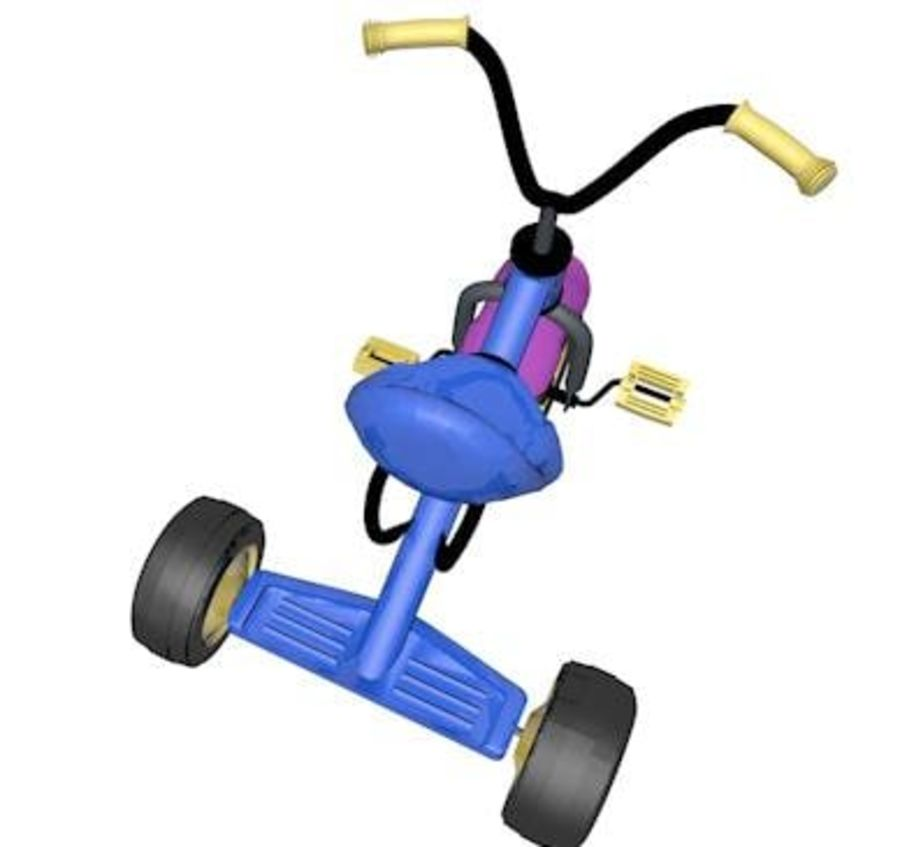 Toy Tricycle Bike royalty-free 3d model - Preview no. 6