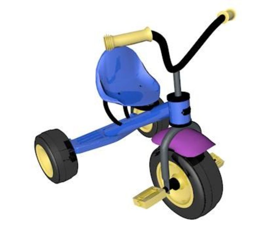 Toy Tricycle Bike royalty-free 3d model - Preview no. 2