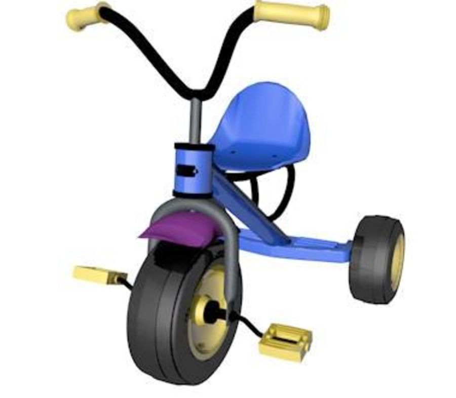 Toy Tricycle Bike royalty-free 3d model - Preview no. 3