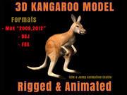 Canguro 3D Modello Rigged Animato 3d model