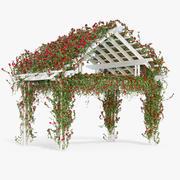 Пергола Восхождение Розы с цветами Плющ Деревянный 3d model
