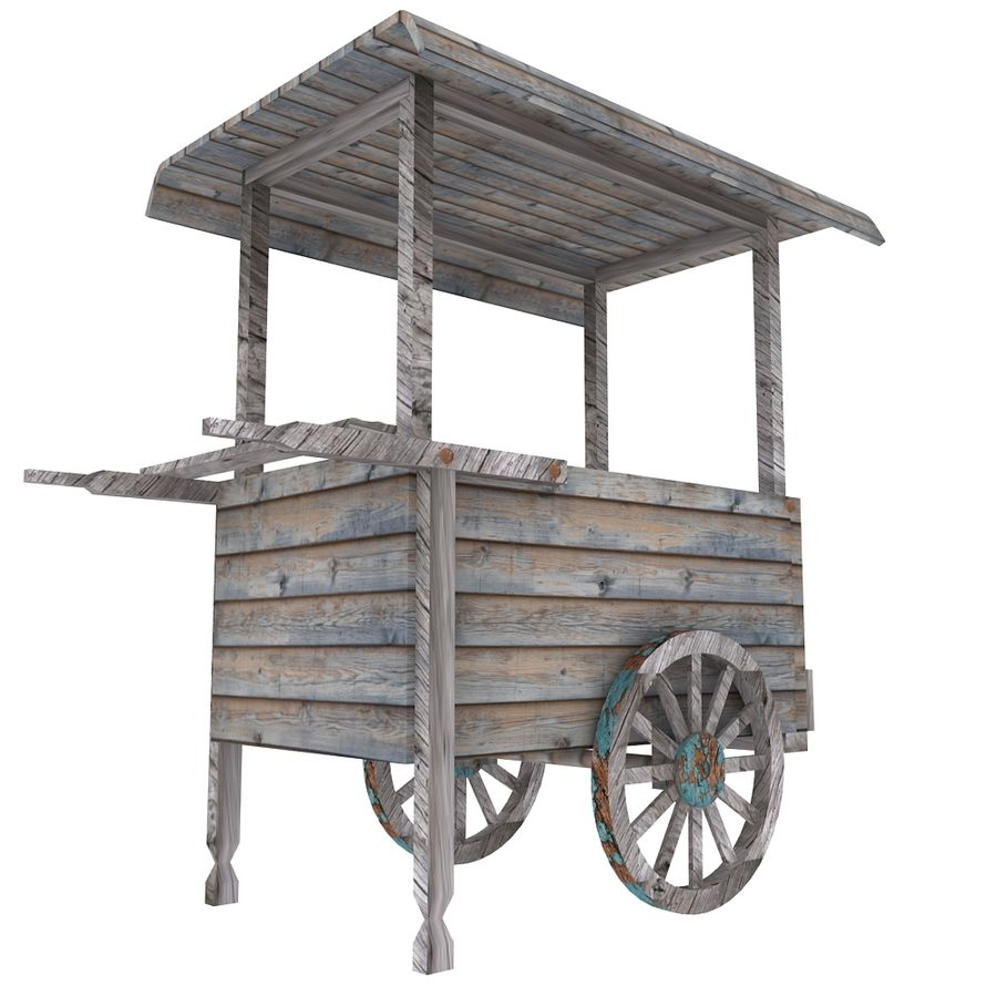 Old Food Cart royalty-free 3d model - Preview no. 6