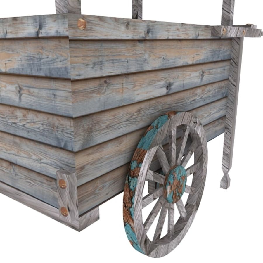 Old Food Cart royalty-free 3d model - Preview no. 8