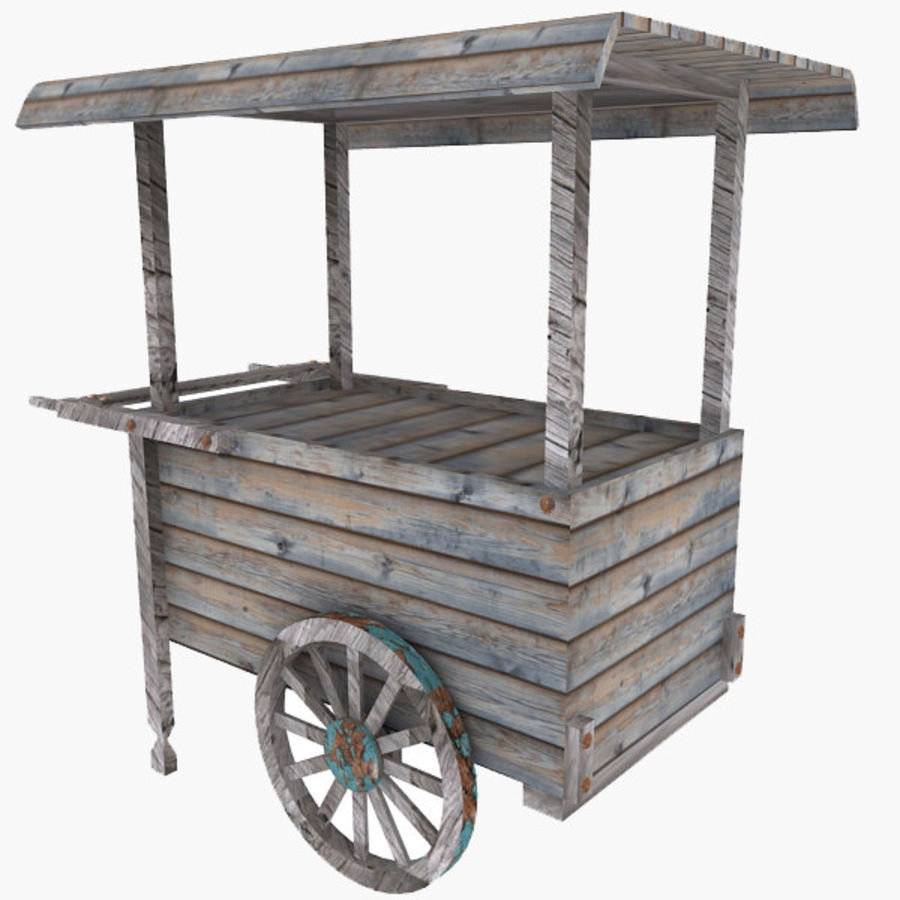Old Food Cart royalty-free 3d model - Preview no. 1