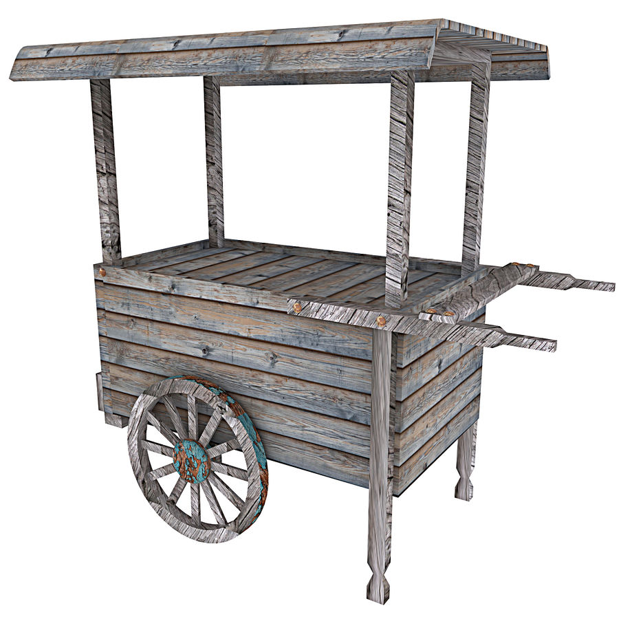 Old Food Cart royalty-free 3d model - Preview no. 7