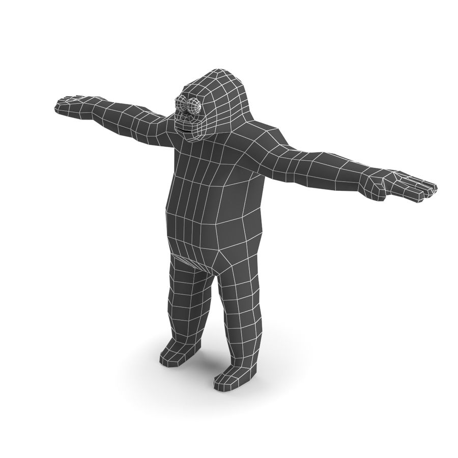 Cartoon Gorilla - RIGGED royalty-free 3d model - Preview no. 8