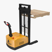 Electric Walkie Stacker and Wooden Pallet 3d model