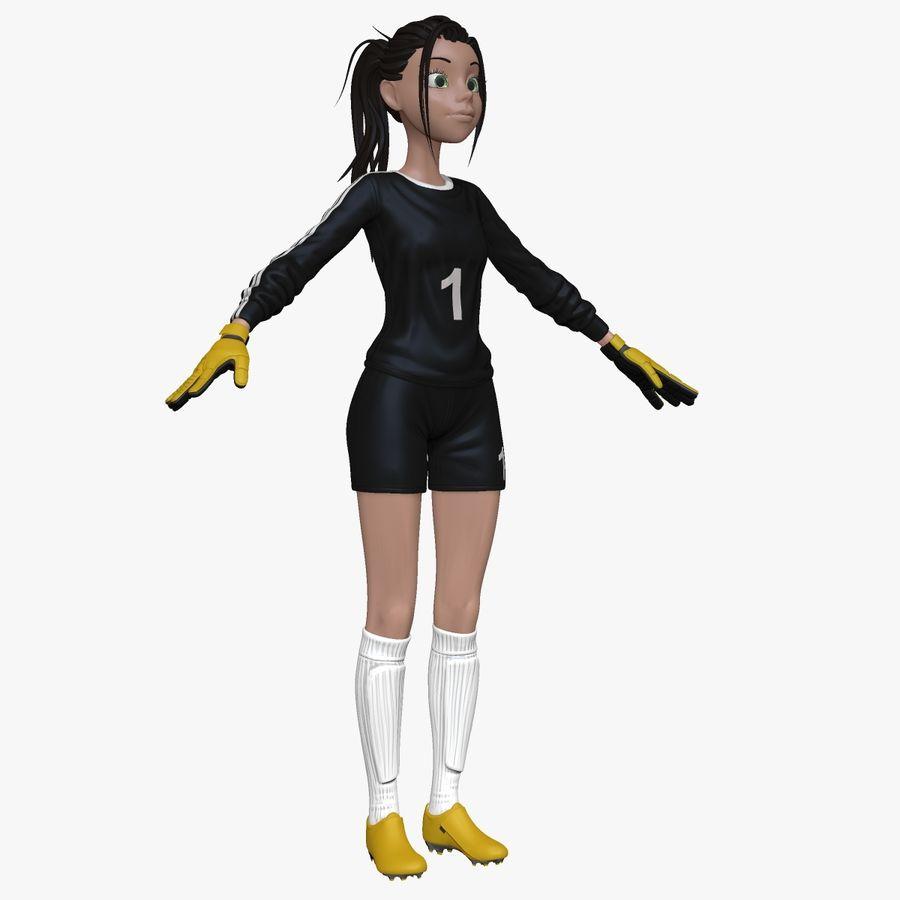 Cartoon Woman Soccer Goal Keeper Sculpt royalty-free 3d model - Preview no. 1