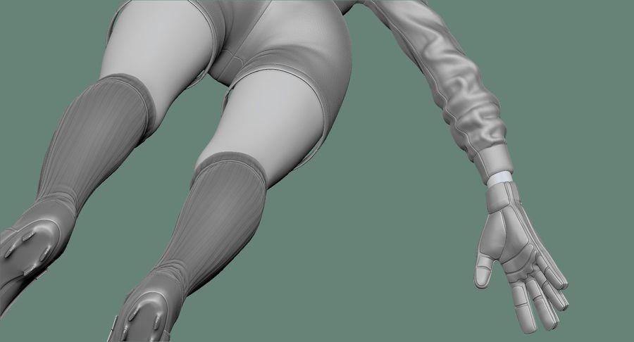 Cartoon Woman Soccer Goal Keeper Sculpt royalty-free 3d model - Preview no. 23