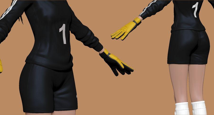 Cartoon Woman Soccer Goal Keeper Sculpt royalty-free 3d model - Preview no. 6